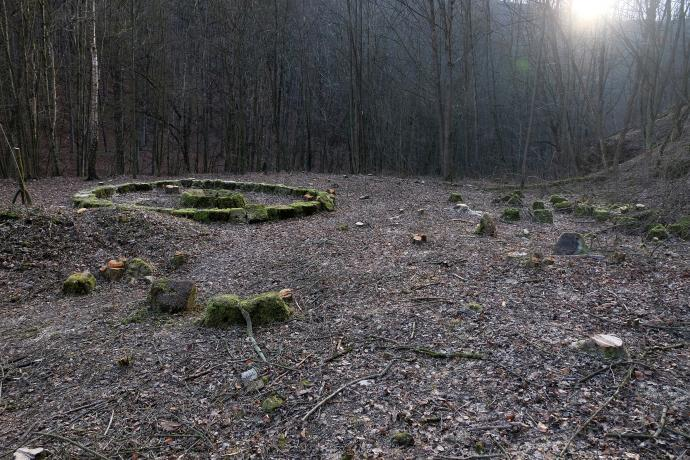 Stará huť u Adamova, tajemný kruh odlesněný, vpravo a vpředu je možno zříti dílce, jež prastaří národové nestihli umístit