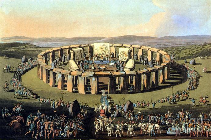 Keltské výroční jamboree okolo a uvnitř posvátného kruhu, na první pohled zaujme jasně patrná podobnost s objeveným útvarem, dobová litografie